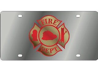 Fire Department Cross Stainless Steel Metal Front Vanity License Plate #492 Automotive