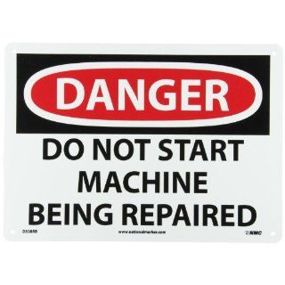 "NMC D508RB OSHA Sign, Legend ""DANGER   DO NOT START MACHINE BEING REPAIRED"", 14"" Length x 10"" Height, Rigid Plastic, Black on White Industrial Warning Signs"