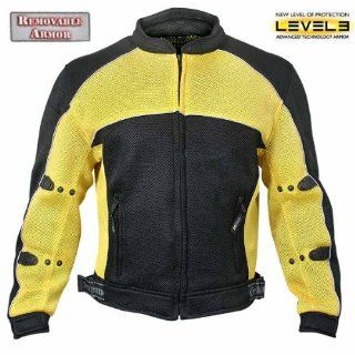 Xelement CF 509 Mens Black/Yellow Sports Armored Mesh Jacket Automotive