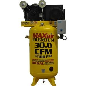 Maxair Premium Industrial 80 Gal. 7.5 HP 3 Phase Single Stage Vertical Air Compressor C7380V1 CS2 MAP