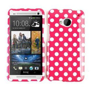 Cell Armor Snap On Case for HTC One   Retail Packaging   White Dots/Hot Pink Cell Phones & Accessories