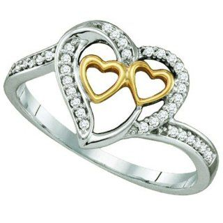 0.12 Carat (ctw) 10K White & Yellow Gold White Diamond Ladies Two Tone Three Hearts Promise Ring Jewelry