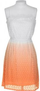 MY MICHELLE Junior's Floral Embroidered Ombr� Empire Waist Dress [8452XKBJ] Orange Ombre Dress