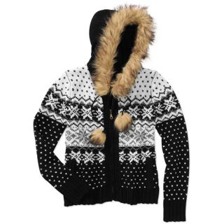 Womens Fair Isle Fur Trim Hoodie Women