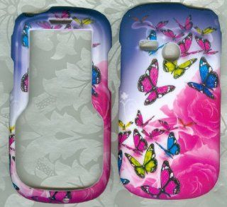 Butterfly New Net10 Tracfone Lg501c Lg 501c 501 Faceplate Rubberized Snap on Hard Phone Cover Case Protector Accessory Cell Phones & Accessories