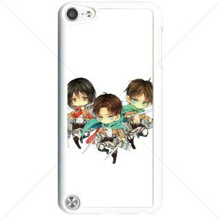 Shingeki no Kyojin Attack on Titan Manga Anime Comic Levi Mikasa Eren Apple iPod Touch iTouch 5th Generation Hard Plastic Black or White cases (White) Cell Phones & Accessories