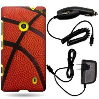 CoverON� Nokia Lumia 521 Hard Plastic Slim Case Bundle with Black Micro USB Home Charger & Car Charger   Brown Black Basketball Cell Phones & Accessories