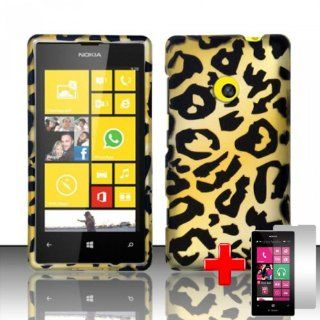 Nokia Lumia 521 (T Mobile) 2 Piece Snap on Rubberized Image Case Cover, Black/Yellow Cheetah Spot Pattern + LCD Clear Screen Saver Protector Cell Phones & Accessories