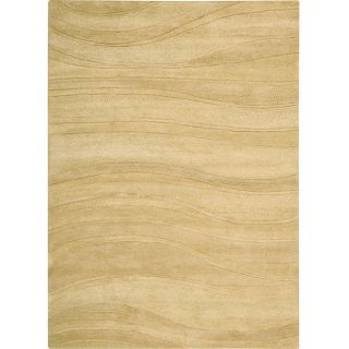 Nourison Natures Terrain Hand tufted Rolling Waves Light Gold Wool Rug (3'6 x 5'6) Nourison 3x5   4x6 Rugs