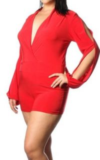 Pinkclubwear Plus Size Deep V neck Open Sleeve Mini Romper Red 1X Clothing