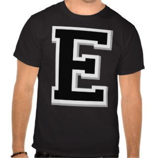 Spell it Out Initial Letter E Black Men's Black T Tee Shirts