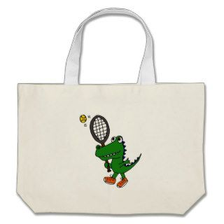XX  Funny Gator Playing Tennis Canvas Bags