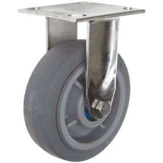 "RWM Casters 45 Series Plate Caster, Rigid, Rubber on Aluminum Wheel, Ball Bearing, 525 lbs Capacity, 4"" Wheel Dia, 2"" Wheel Width, 5 5/8"" Mount Height, 4 1/2"" Plate Length, 4"" Plate Width"