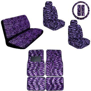 Purple Zebra Animal Print Safari Stripes Car Truck SUV Auto Accessories Front & Rear Floor Mats Universal fit Bucket Seat Covers Bench Steering Wheel Cover & Shoulder Belt Pads Interior Combo Kit Gift Set   15PC Automotive