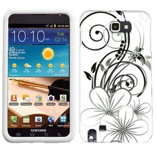 Samsung Galaxy Note Black White Flower on White Cover Cell Phones & Accessories