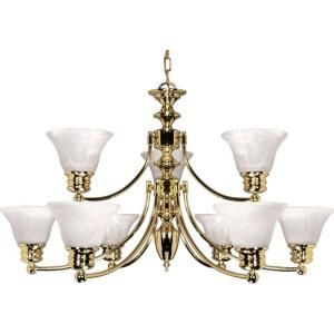 Glomar Empire 9 Light Polished Brass 2 Tier Chandelier with Alabaster Glass Bell Shades HD 361