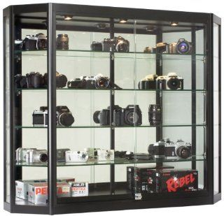 Wall Mounted Tempered Glass And Black Aluminum Display Case Has Angled Front Design, 47 1/4 x 39 1/2 x 12 Inch, 3 Halogen Top Lights, And Locking Glass Doors   Sports Related Display Cases