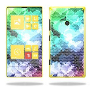 Protective Vinyl Skin Decal Cover for Nokia Lumia 520 Cell Phone T Mobile Sticker Skins Colorful Hearts Cell Phones & Accessories
