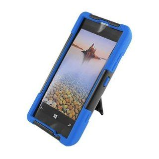 For T Mobile Nokia Lumia 521 Windows Phone 8 Hybrid Case Blue Black with Y Stand