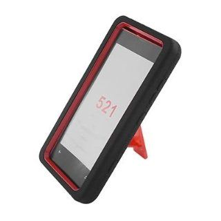 For T Mobile Nokia Lumia 521 Windows Phone 8 RUGGED Case Red Black With Stand