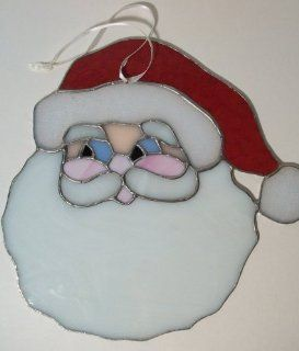 Santa Head Stained Glass   Stained Glass Window Panels