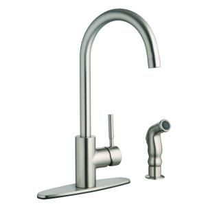 Design House Springport Single Handle Side Sprayer Kitchen Faucet in Satin Nickel 523183