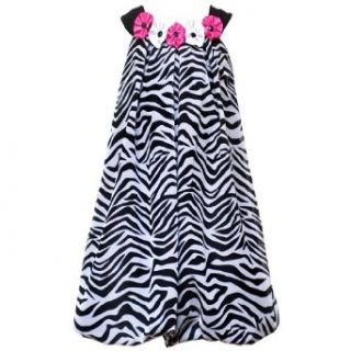Rare Editions Girls Black / White Zebra Bubble Trapeze Dress, Black / White, 4   6X