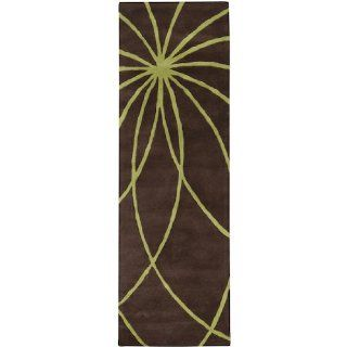 3' x 12' Plasma Elektra Contemporary Moss Green and Brown Wool Area Runner Rug   Hand Tufted Rugs