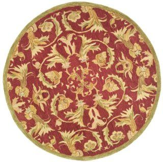 Safavieh AN527A Anatolia Collection 6 Feet Handmade Hand Spun Wool Round Area Rug, Burgundy and Sage