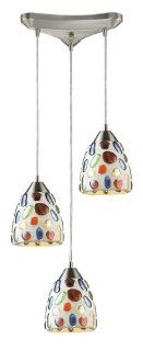 Elk Lighting 542 3 Gemstone 3 Light Contemporary Pendant Lighting Fixture, Satin Nickel, Glass With Multi Colored Glass Stones, B12295   Ceiling Pendant Fixtures
