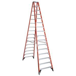 Werner 16 ft. Fiberglass Twin Step Ladder with 300 lb. Load Capacity Type IA T7416
