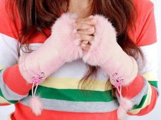 E Tribe Best Sale Fashion Cute Rabbit Faux Fur Hand Wrist Winter Warmer Women Lady Girls Soft Fingerless Gloves Great Chrismas Gift (Pink)  General Purpose Glues