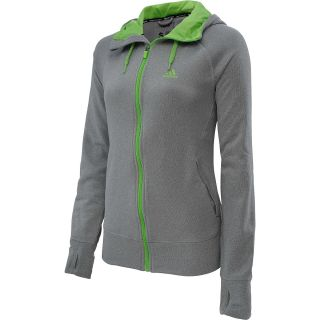 adidas Womens Ultimate Fleece Full Zip Hoodie   Size Mediumreg, Black/grey