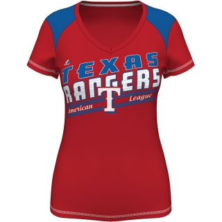 MAJESTIC ATHLETIC Womens Texas Rangers Superior Speed V Neck T Shirt   Size