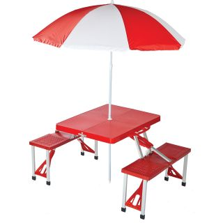 Picnic Plus Folding Picnic Table with Umbrella, Red (PSM 101UR)