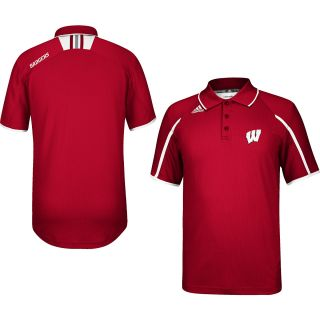 adidas Mens Wisconsin Badgers Sideline Alternate Color Polo Shirt   Size