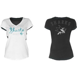 Touch By Alyssa Milano Womens San Jose Sharks In The Bleachers V Neck T Shirt