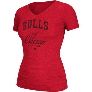 adidas Womens Chicago Bulls New Athletic Tri Blend T Shirt   Size Small, Red