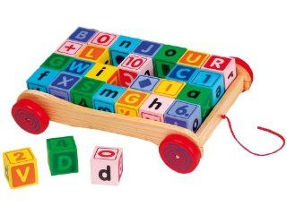 FIRST LEARNING WOODEN PULL ALONG ALPHABET & MATHS BLOCK WAGON, 28 BLOCKS Toys & Games