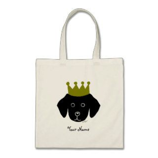 Black Lab Retriever Funny Cartoon Illustration Canvas Bags