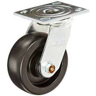"Albion 16 Series Medium Heavy Duty Zinc Swivel Plate Caster, Roller Bearing, 5"" Diameter Polypropylene Wheel, 4 1/2"" Length x 4"" Width Plate, 550 lbs Capacity"