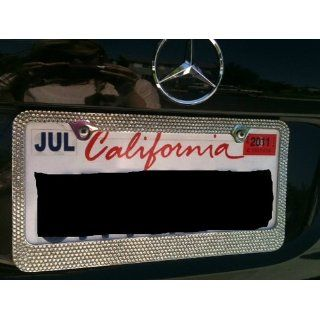 Popular Bling 7 Rows White/Clear (A Type Screw Cap) Crystal Rhinestone Metal Chrome License Plate Frame Automotive