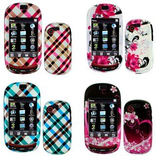 iNcido Brand Samsung Gravity T T669 Combo Purple Love + Red Flower on White + Hot Pink Plaid + Blue Plaid Protective Case Faceplate Cover for Samsung Gravity T T669 Cell Phones & Accessories