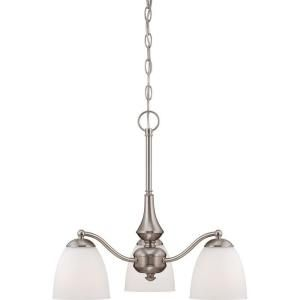 Glomar Patton ES 3 Light Brushed Nickel Arms Down Chandelier HD 5062