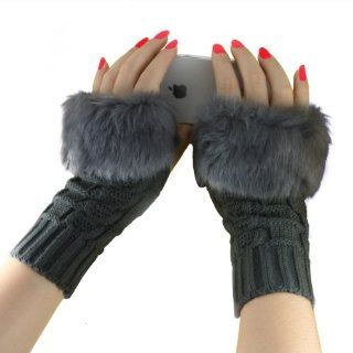 All match Knit Women Gloves Stretchy Half finger Arm Warmer Gloves for Girls, Ladies, Christmas Gifts, Etc. (Khaki short)   Impact Reducing Safety Gloves