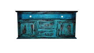 2 Door 2 Drawer TV STAND Turquoise Scraped Western Rustic Flat Screen Console   Television Stands