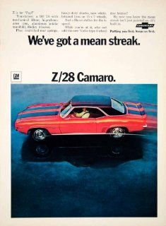 1968 Ad Z/28 Camaro Red Black 302 V8 Hurst Holley Chevrolet GM Auto Car Stripes   Original Print Ad   Vintage Camaro Art