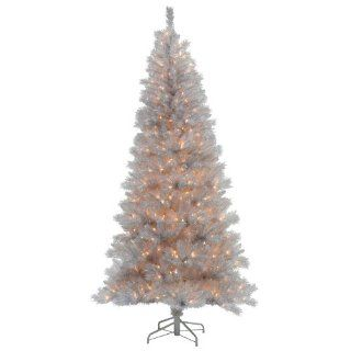 Silver White Pre Lit Christmas Tree