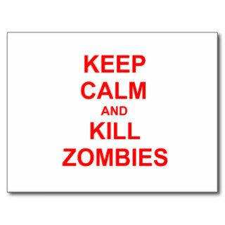 Keep Calm and Kill Zombies orange pink red Post Card