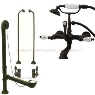 Oil Rubbed Bronze Wall Mount Clawfoot Tub Faucet w Hand Shower Package CC555T5 CC555T5system   Bathtub Faucets
